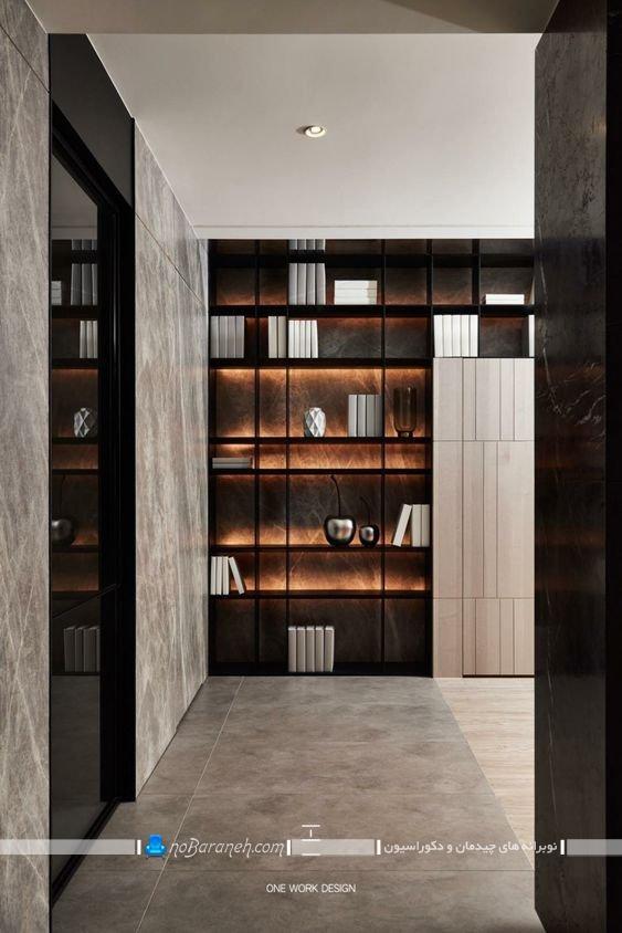 کتابخانه خانگی شیشه ای و چوبی