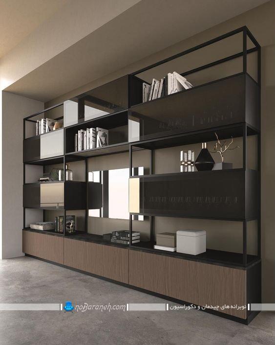 مدل جدید و مدرن بوفه و قفسه چوبی و شیشه ای