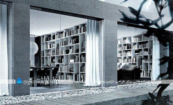 طراحی کتابخانه دیواری در محیط اداری