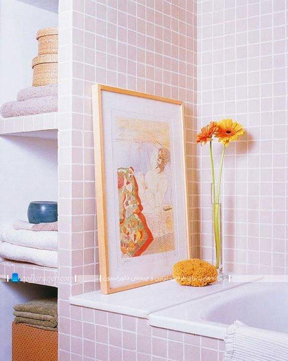 قفسه بندی و طبقه بندی سنگی در حمام و دستشویی / عکس
