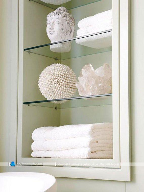 کمد و بوفه چوبی و شیشه ای حمام / عکس