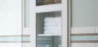کمد چوبی و شیشه ای برای حمام و روشویی خانه