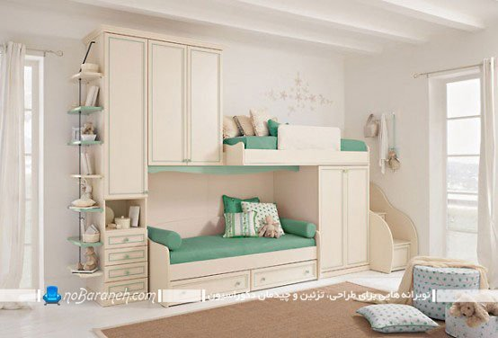 سرویس خواب دو طبقه اتاق کودک با کمد و کشو
