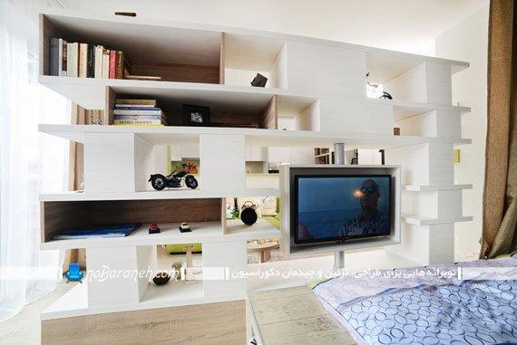 پارتیشن و قفسه تزیینی سفید رنگ
