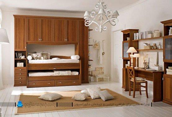 میز تحریر و کمد و تخت خواب برای اتاق کودک و نوجوان
