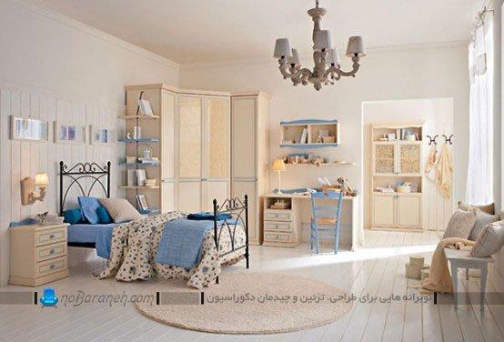 طراحی دکوراسیون شیک و کلاسیک در اتاق کودک با آبی و کرم