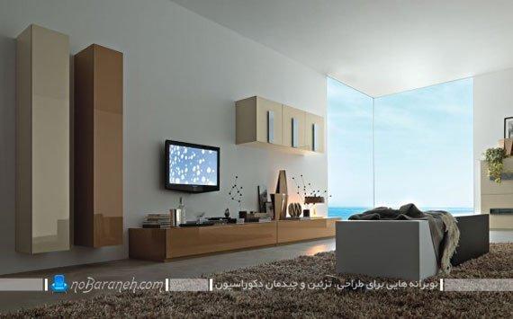 تزیین اطراف تلویزیون دیواری با شلف و باکس چوبی