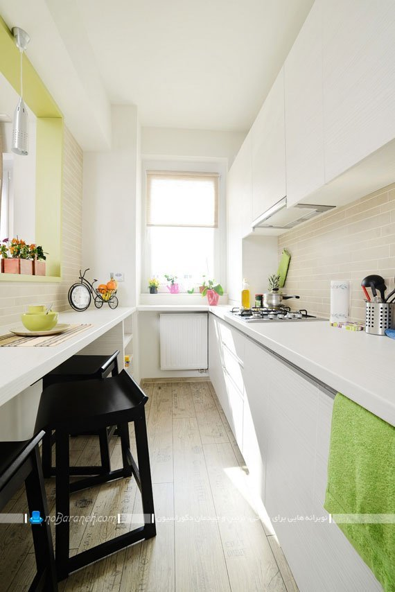 طراحی داخلی آشپزخانه کوچک و کشیده / عکس