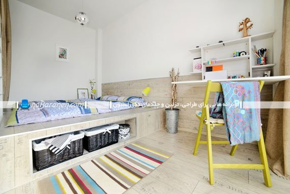 طراحی نیمه دوبلکس در اتاق خواب / عکس
