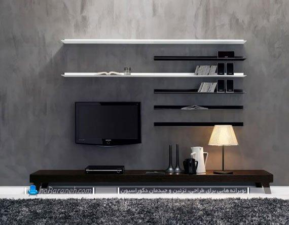 میز تلویزیون مدرن چوبی با شلف
