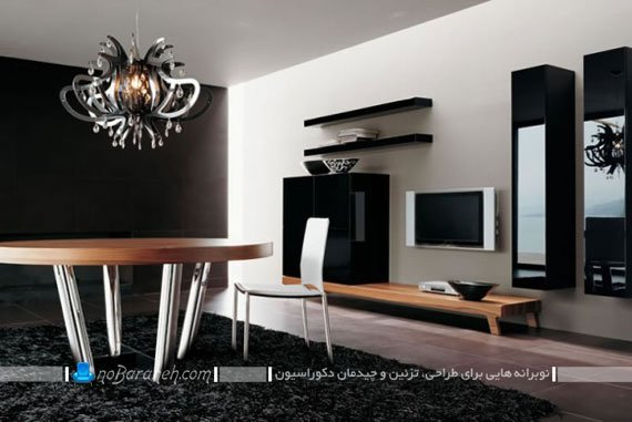 میز تلویزیون مدرن با شلف