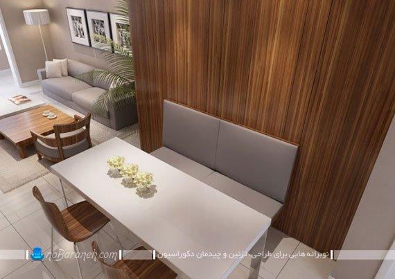 تزیین دیوارهای اتاق پذیرایی با دیوارپوش چوبی / عکس