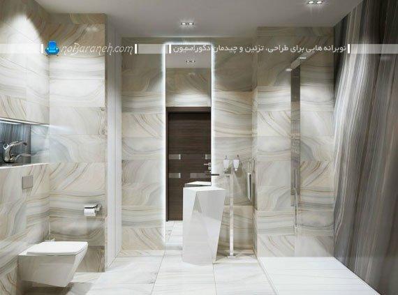 دکوراسیون مدرن سرویس بهداشتی با کاشی دیواری مرمر