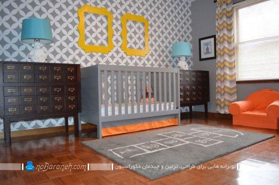 دیزاین شیک اتاق نوزاد با رنگ خاکستری