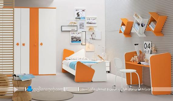 تزیین دخترانه اتاق کودک و نوجوان محصل با نارنجی