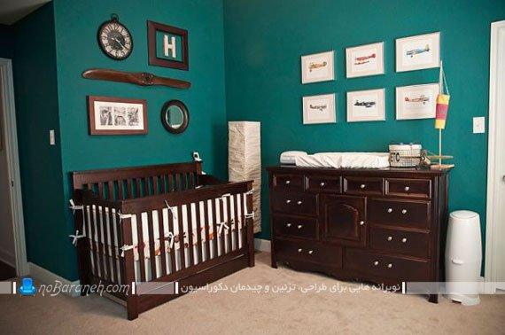 رنگ بندی مناسب اتاق کودک نوزاد پسر با قهوه ای و سبز