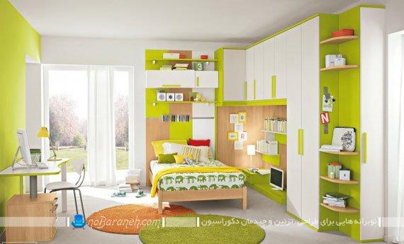 طراحی دکوراسیون کودکانه و دخترانه با سبز و فسفری
