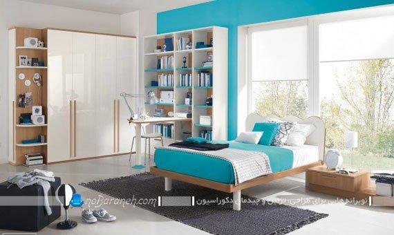 دیزاین شیک و پسرانه اتاق کودک با رنگ آبی و سفید
