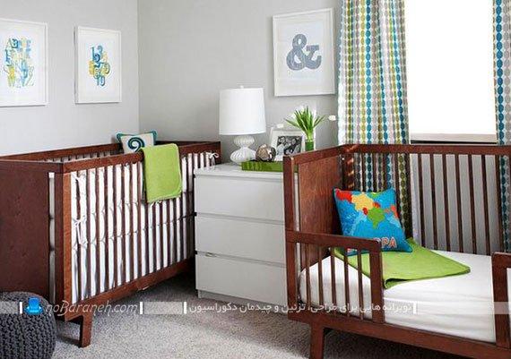 رنگ آمیزی و چیدمان اتاق نوزاد پسر دو قلو