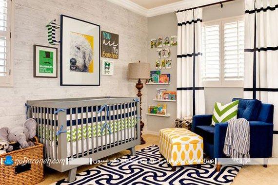 مدلهای چیدمان و دیزاین پسرانه اتاق نوزاد با رنگ سرمه ای