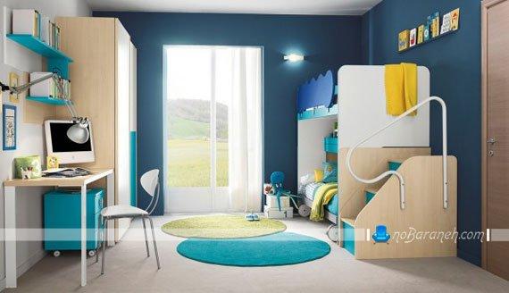 دیزاین اتاق بچه های دوقلوی پسر با رنگ آبی