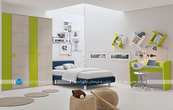 دکوراسیون زیبای پسرانه اتاق کودک با سبز و آبی