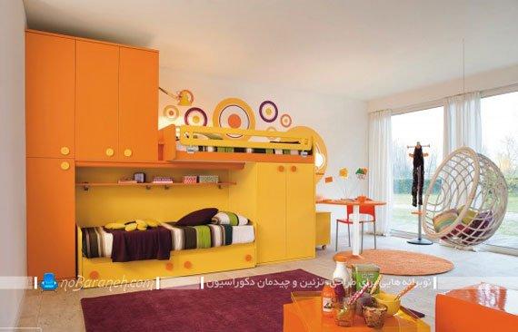 طراحی و تزیین دکوراسیون اتاق نوجوانان با رنگ زرد و نارنجی
