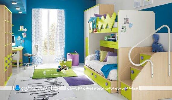 اتاق خواب کودکان و نوجوانان با طراحی دکوراسیون دو قلو و سرویس خواب دو طبقه