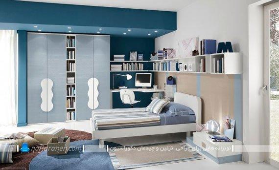 تزیین شیک و مدرن اتاق نوجوان با رنگ آبی درباری
