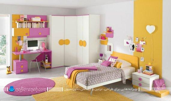 رنگ آمیزی دخترانه اتاق خواب با زرد و صورتی