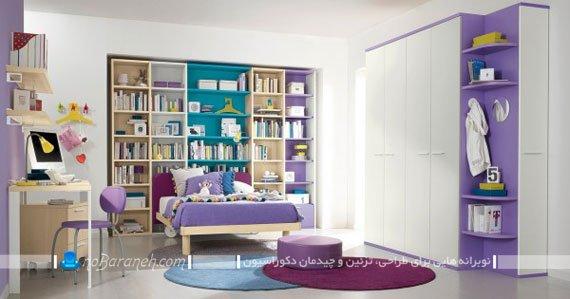 رنگ آمیزی دخترانه اتاق خواب نوجوان با بنفش و سفید