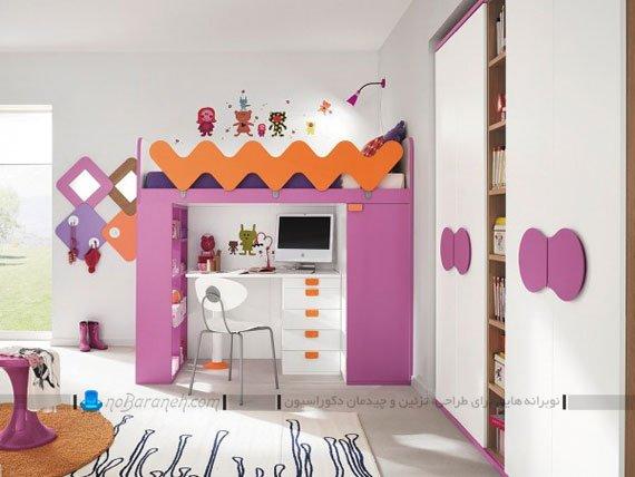 مدل تخت خواب دو طبقه کمجا برای اتاق کودک دختر