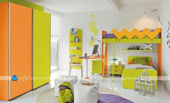 تزیین شیک و مدرن اتاق کودک دختر با سبز و نارنجی