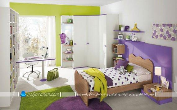 طراحی دکوراسیون شیک و مدرن اتاق خواب نوجوانان با رنگ بنفش و سبز (دخترانه)