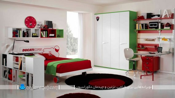 تزیین اتاق کودک به شکل دخترانه با سبز و قرمز