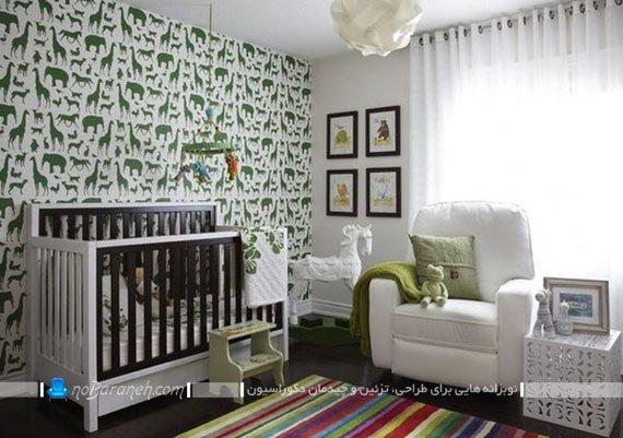 رنگ آمیزی تزیین ساده اتاق نوزاد پسر