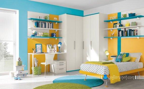 دکوراسیون دخترانه اتاق کودک و نوجوان با نارنجی و آبی پاستیلی