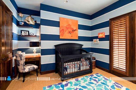 عکس چیدمان و دیزاین پسرانه اتاق نوزاد