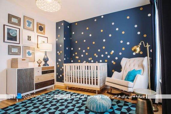 تزیین شیک اتاق نوزاد پسر با رنگ آبی