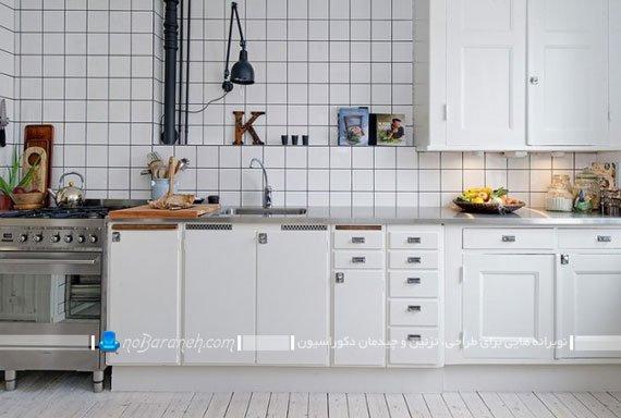 کاشی و سرامیک سفید دیوار آشپزخانه / عکس