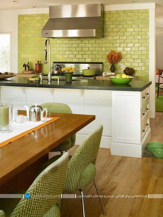 مدل دیوارپوش آجری آشپزخانه با رنگ سبز