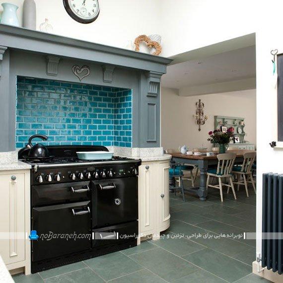 دیوارپوش آشپزخانه با رنگ آبی