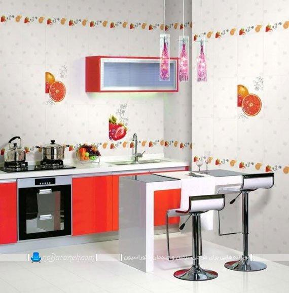 مدل کاشی دیوار آشپزخانه با طرح میوه ها