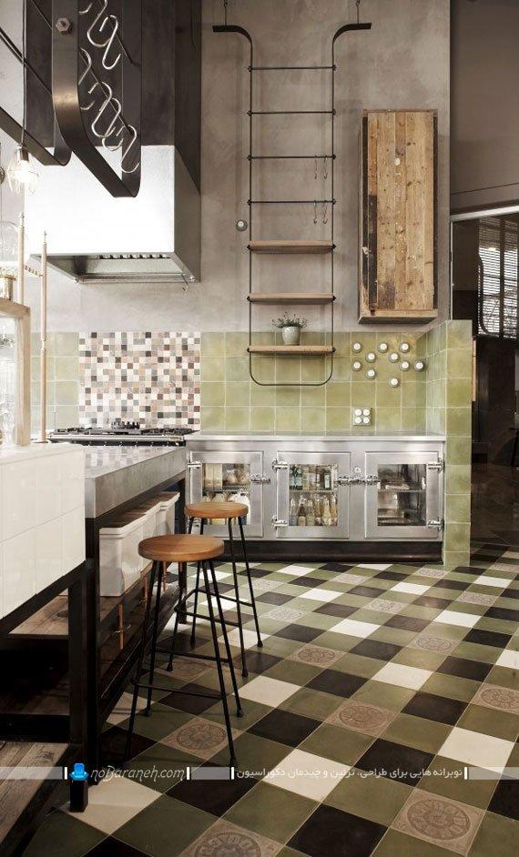 مدل سرامیک و کاشی دیواری آشپزخانه با رنگ سبز