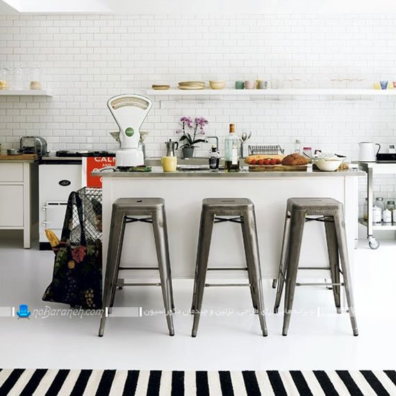 مدل کاشی آجری آشپزخانه با رنگ سفید ساده