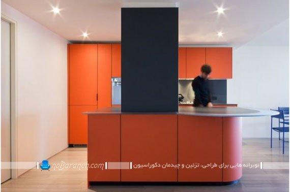 کابینت آشپزخانه نارنجی رنگ