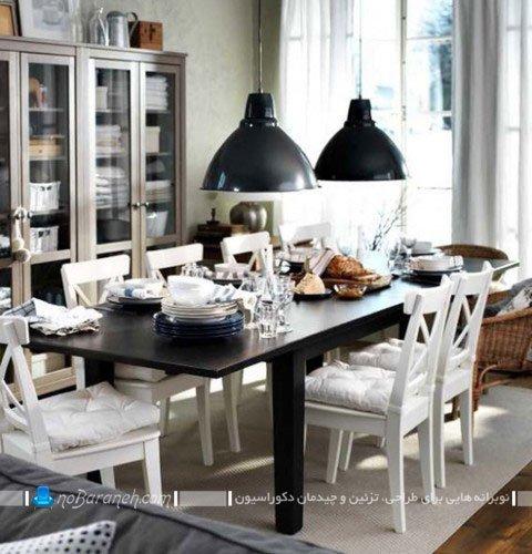 میز ناهارخوری شش نفره سیاه و سفید / عکس