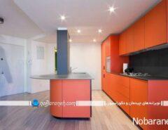 دکوراسیون داخلی آشپزخانه با رنگ های گرم و تند