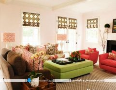 دیزاین اتاق نشیمن و پذیرایی با رنگ های شاد