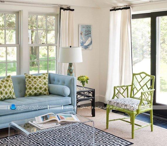 دیزاین اتاق پذیرایی با رنگ آبی